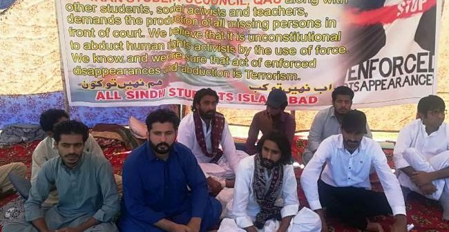 Students protesting against un-volunteer disappearances in Sindh