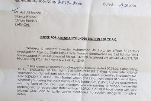 FIA summons Zardari, Faryal Talpur on wednesday in money